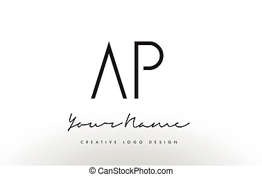 AP Letters Logo Design Slim. Creative Simple Black Letter...