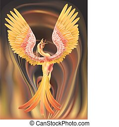 phoenix illustration - A phoenix rising from the ashes