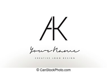 AK Letters Logo Design Slim. Creative Simple Black Letter...