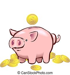 piggy bank moneybox - a piggy bank with a coin going into it...
