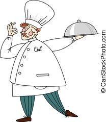 Cute chef holding a tray of delicious dishes.