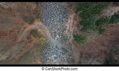 Drone flight over a rocky landscape - A drone flight over a...