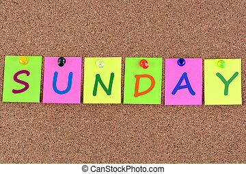 Sunday word on notes - Sunday word on colorful notes