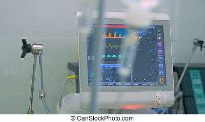 ECG monitor, dropper, medical equipment at a ICU in a modern...