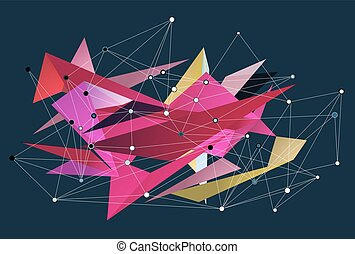 Abstract 3D triangles vector geometric background. Lines...