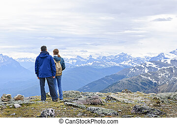 Hikers in mountains - Hikers enjoying scenic Canadian Rocky...
