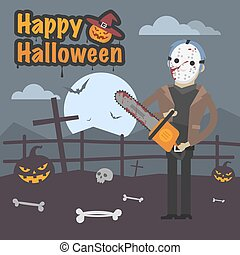 Illustration Halloween maniac killer holding chainsaw -...