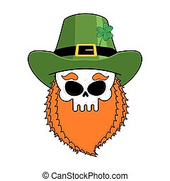 Skull leprechaun with red beard. Green Irish cap. St. Patrick's Day national holiday. Traditional Ireland Festival