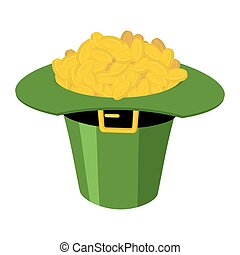 St.Patricks Day . Leprechaun hat and gold. National Holiday...