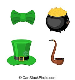 St. Patrick's Day icon set. Leprechaun accessory. pot of gold and smoking pipes. Green bow tie. National Holiday in Ireland. Traditional Irish Festival