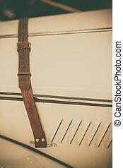 Vintage car belt - Close up shot of a leather belt on a...