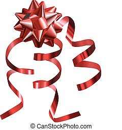 illustration of a pretty shiny red bow with ribbons - A...