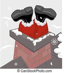 santa chimney illustration - Santa claus stuck in a chimney....