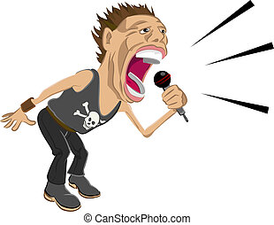 rockstar illustration - a rockstar screaming into a mic.