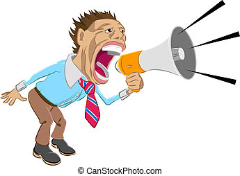 shout - A business man shouting into a megaphone