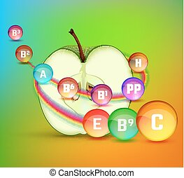 Apple Vitamins Image - Apple vitamins infographic with a...