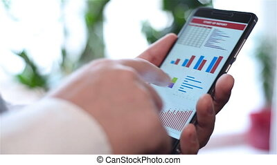 Mobile Phone With Financial Statistics