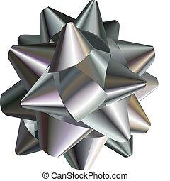 pretty silver bow - A vector illustration of a pretty silver...