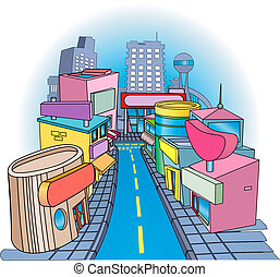 shoppig street Illustration - A commercial street with some...