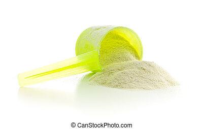 Whey protein powder. - Whey protein powder isolated on white...