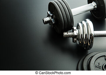 The metal dumbbell and weights. - The metal dumbbell and...