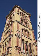Colourful buildings of Cartagena - Colourful square tower of...