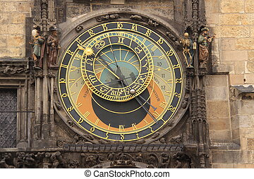 Astronomic clock - Very famous Prague Astronomic Clock in...