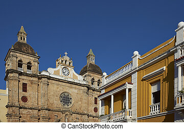 Historic churches of Cartagena - Towers and dome of the...