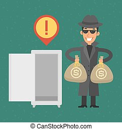 Thief stole money from safe - Illustration, thief stole...