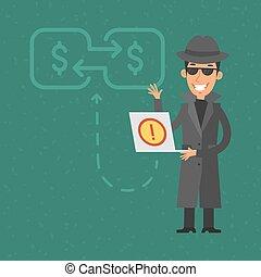 Thief broke into bank account - Illustration, thief broke...