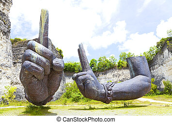 """Giant Arms at Bali, Indonesia - Image of giant """"floating""""..."""