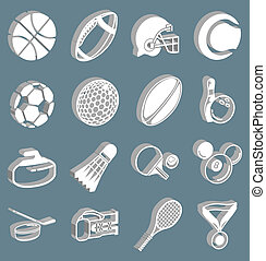sports icon set - series of icons or design elements...