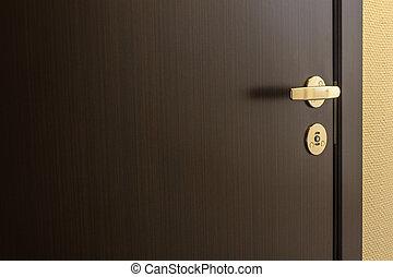 Closed door of hotel room - Closed brown door of hotel room...