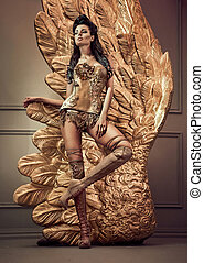 Golden sensual lady with giant wings - Golden sensual woman...