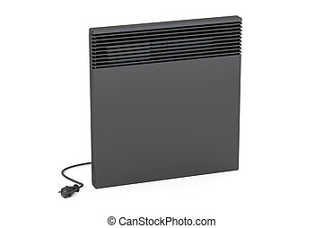 Black convection heater, 3D rendering isolated on white...