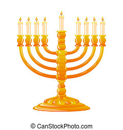 Hanukkah golden menorah with burning candles. - For Happy...