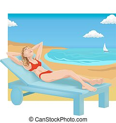 sunbathing illustration - A woman sunbathing on a beach.