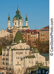 Iconic old Kiev street - Famous St Andrew church and descent...