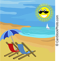 summer holiday illustration - Beach chairs on beach with...