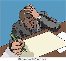 stress! - Stressed looking overworked business person, or...