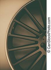 Car rim detail - Close up shot of a new car rim.