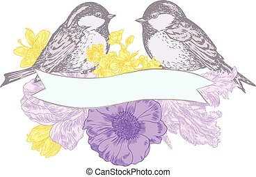 Birds, flowers, and banner - Birds, flowers and banner drawn...
