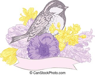 Birds, flowers, and banner - Bird, flowers and banner drawn...