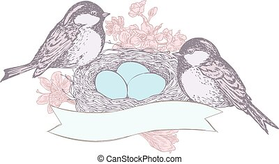 Birds, flowers, nest, eggs, and banner drawn in pen and ink...