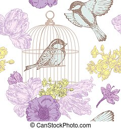 Birds, flowers, nest, eggs, cage seamless pattern - seamless...