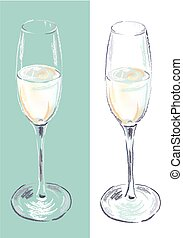 champagne flute drawn with chalk brushes
