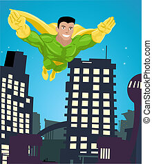 superhero illustration - a super hero flying over a city