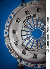 Car clutch detail - Close up shot of a car's clutch plate.