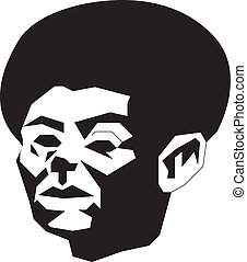 abstract man with afro - Black and white illustration of...