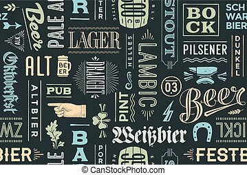 Seamless pattern with types of beer and hand drawn lettering...